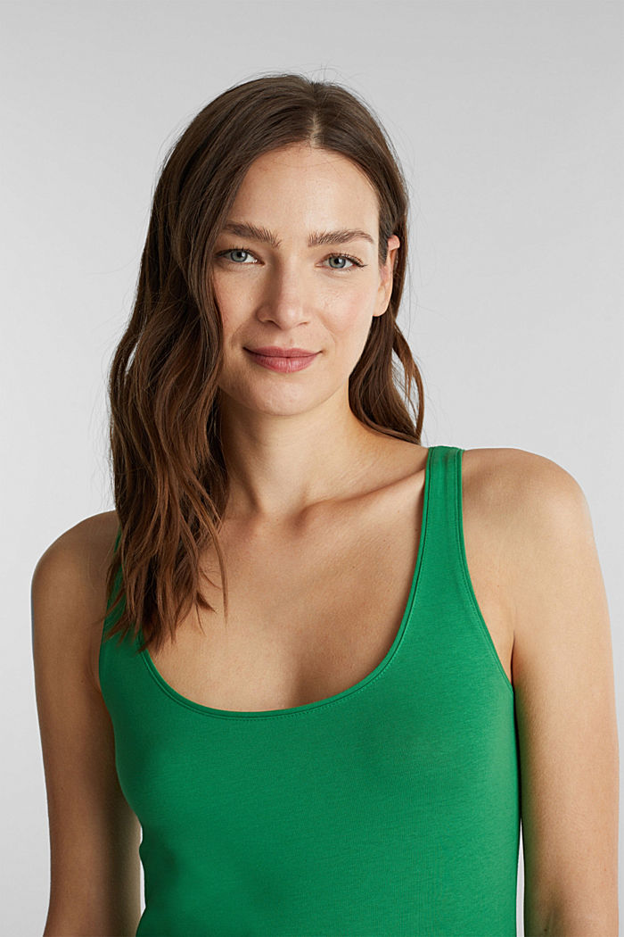 Organic cotton sleeveless top, GREEN, detail image number 5