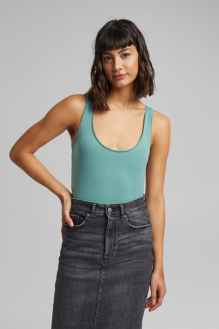 Organic cotton sleeveless top, DUSTY GREEN, detail image number 0