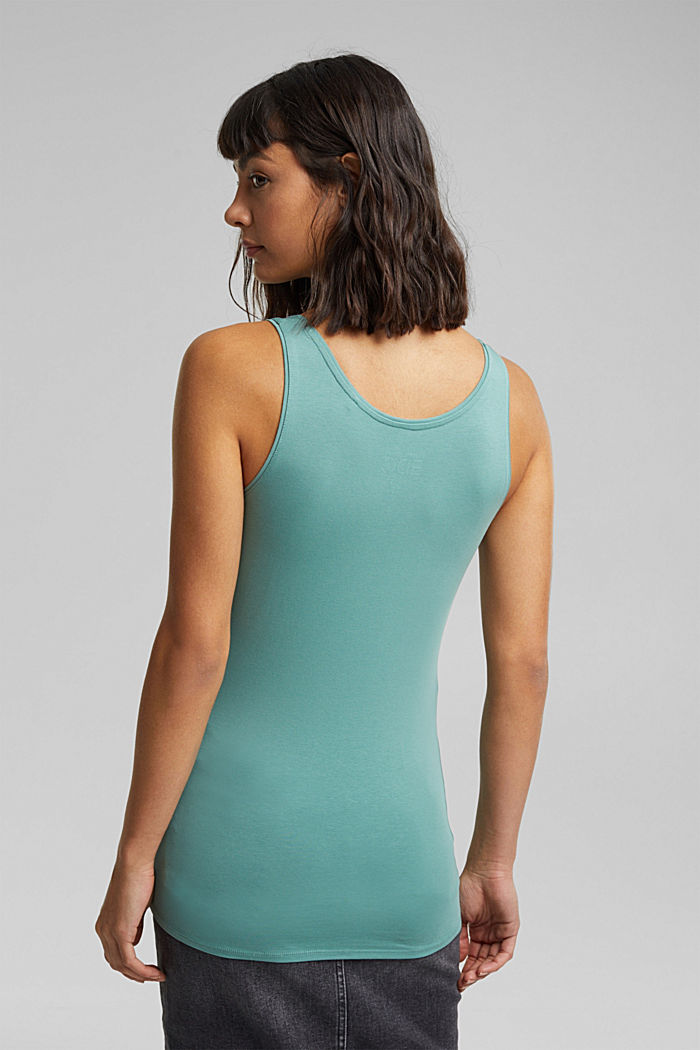 Organic cotton sleeveless top, DUSTY GREEN, detail image number 3