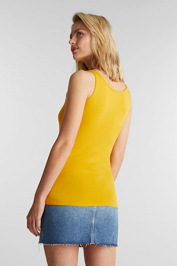 Organic cotton sleeveless top, BRASS YELLOW, detail image number 3