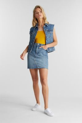 Organic cotton sleeveless top, BRASS YELLOW, detail