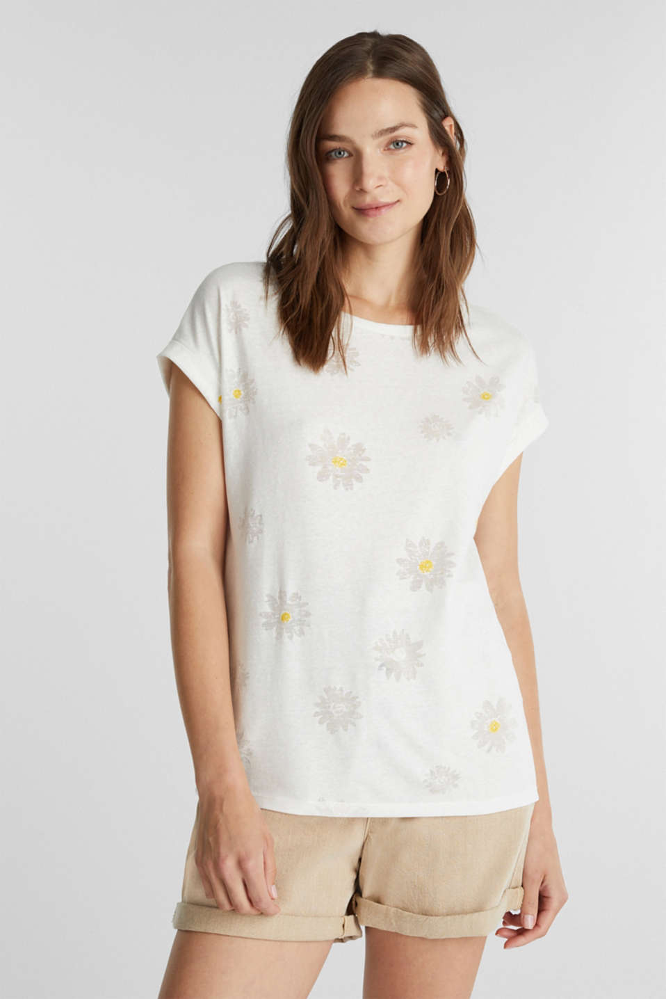 Burnt-out top with a floral pattern, OFF WHITE, detail image number 0