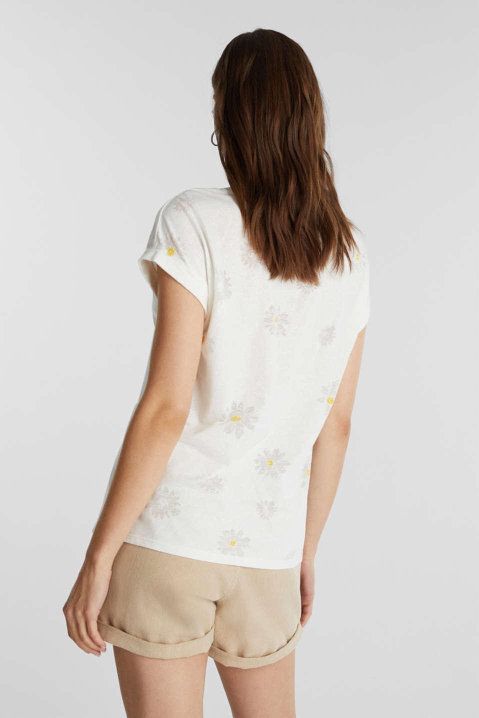 Burnt-out top with a floral pattern, OFF WHITE, detail image number 3