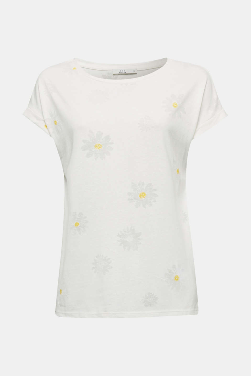 Burnt-out top with a floral pattern, OFF WHITE, detail image number 6