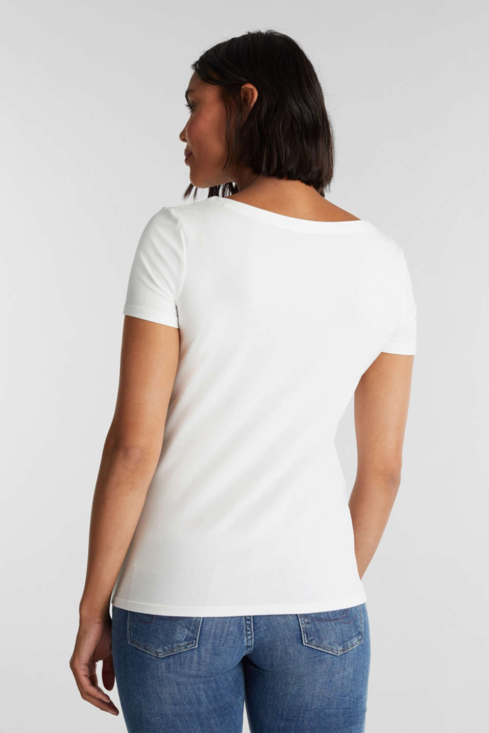 T-shirt with a square neckline, OFF WHITE, detail image number 3