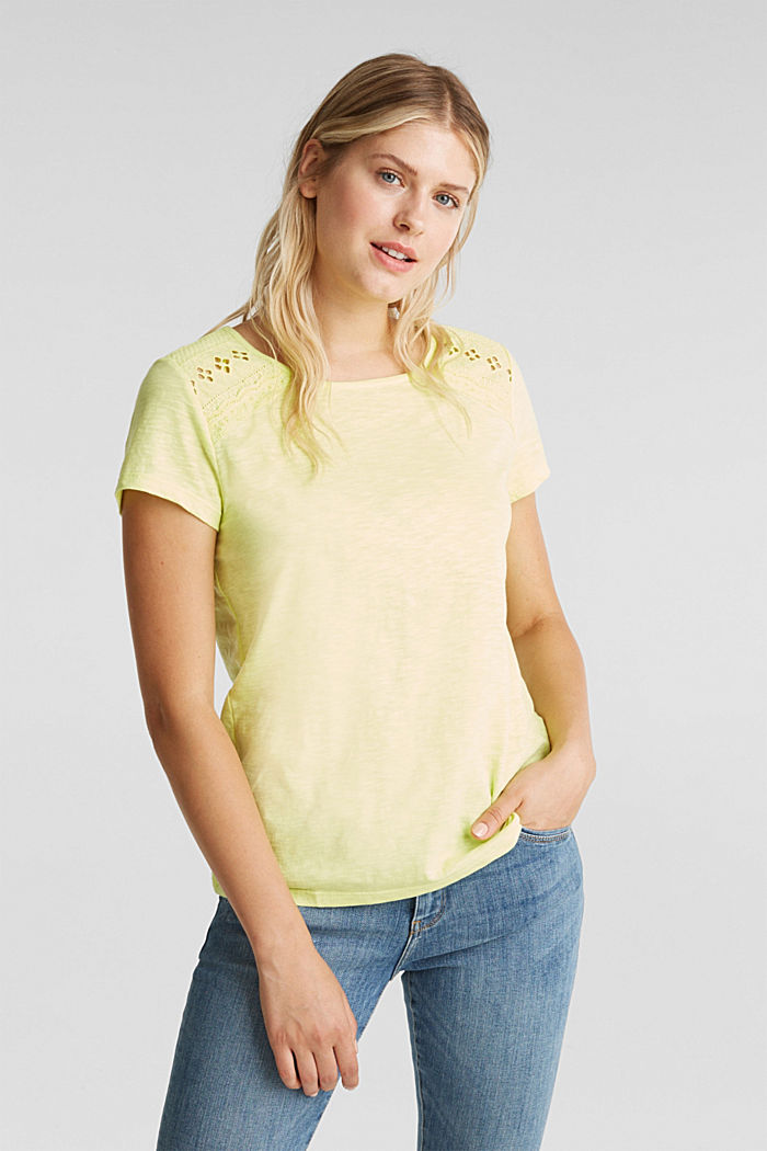 Maglia in jersey con inserto in pizzo, LIME YELLOW, detail image number 0