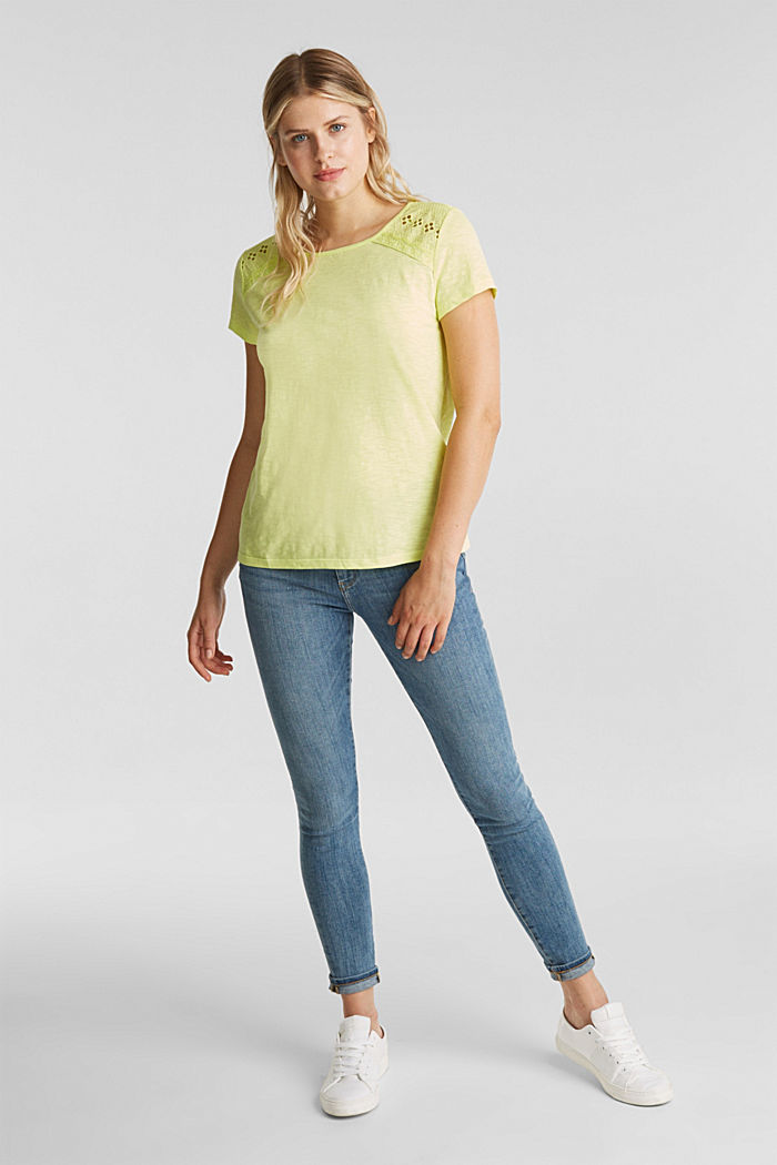 Maglia in jersey con inserto in pizzo, LIME YELLOW, detail image number 1