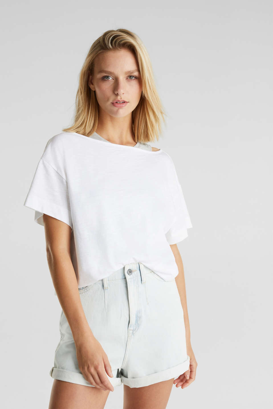 Layered top with organic cotton, WHITE, detail image number 0