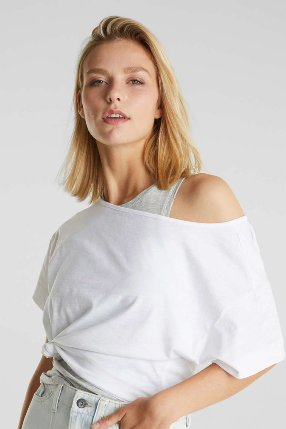 Layered top with organic cotton, WHITE, detail image number 6