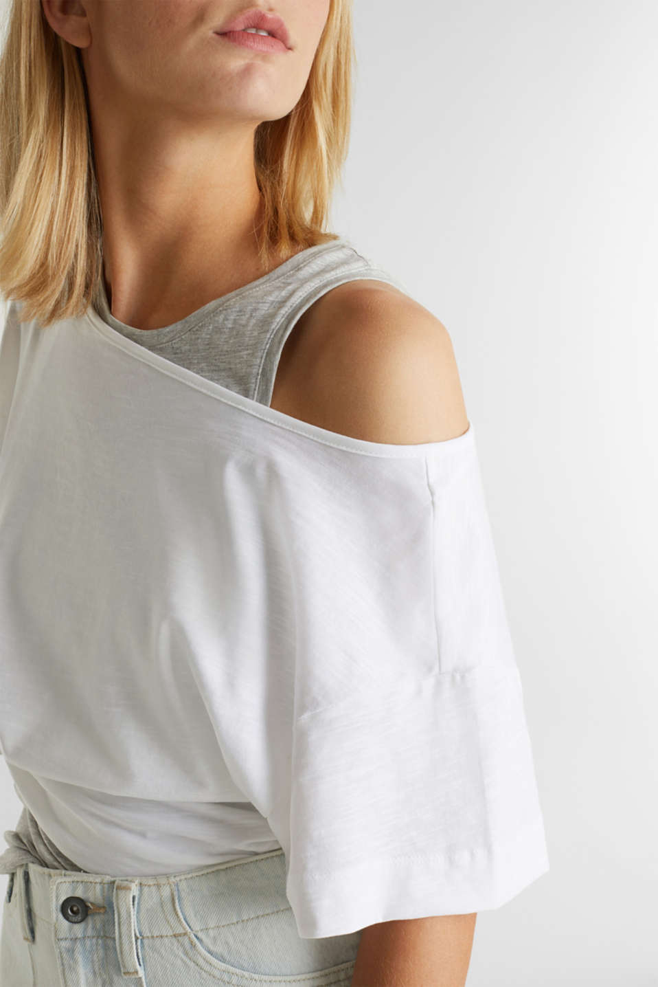 Layered top with organic cotton, WHITE, detail image number 2
