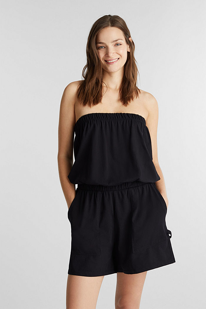 Jersey jumpsuit made of 100% cotton, BLACK, detail image number 0