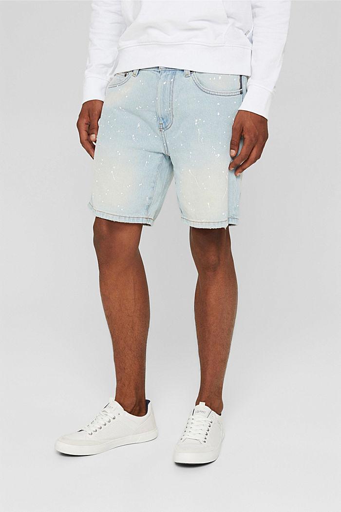 Jeans Shorts mit Farbklecksen, Organic Cotton