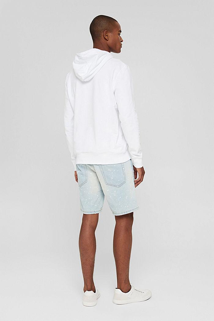Denim shorts with colour blots, BLUE BLEACHED, detail image number 3