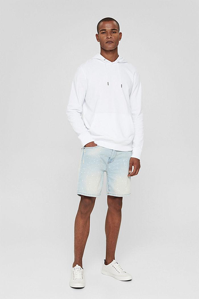 Denim shorts with colour blots, BLUE BLEACHED, detail image number 1