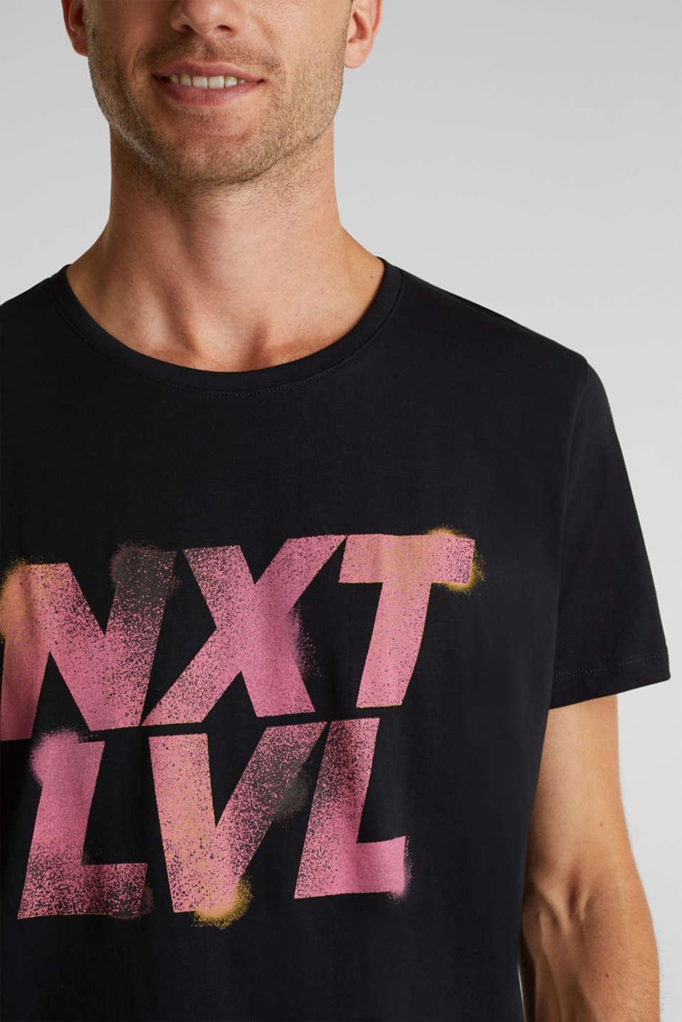 Jersey print top, 100% organic cotton, BLACK, detail image number 1