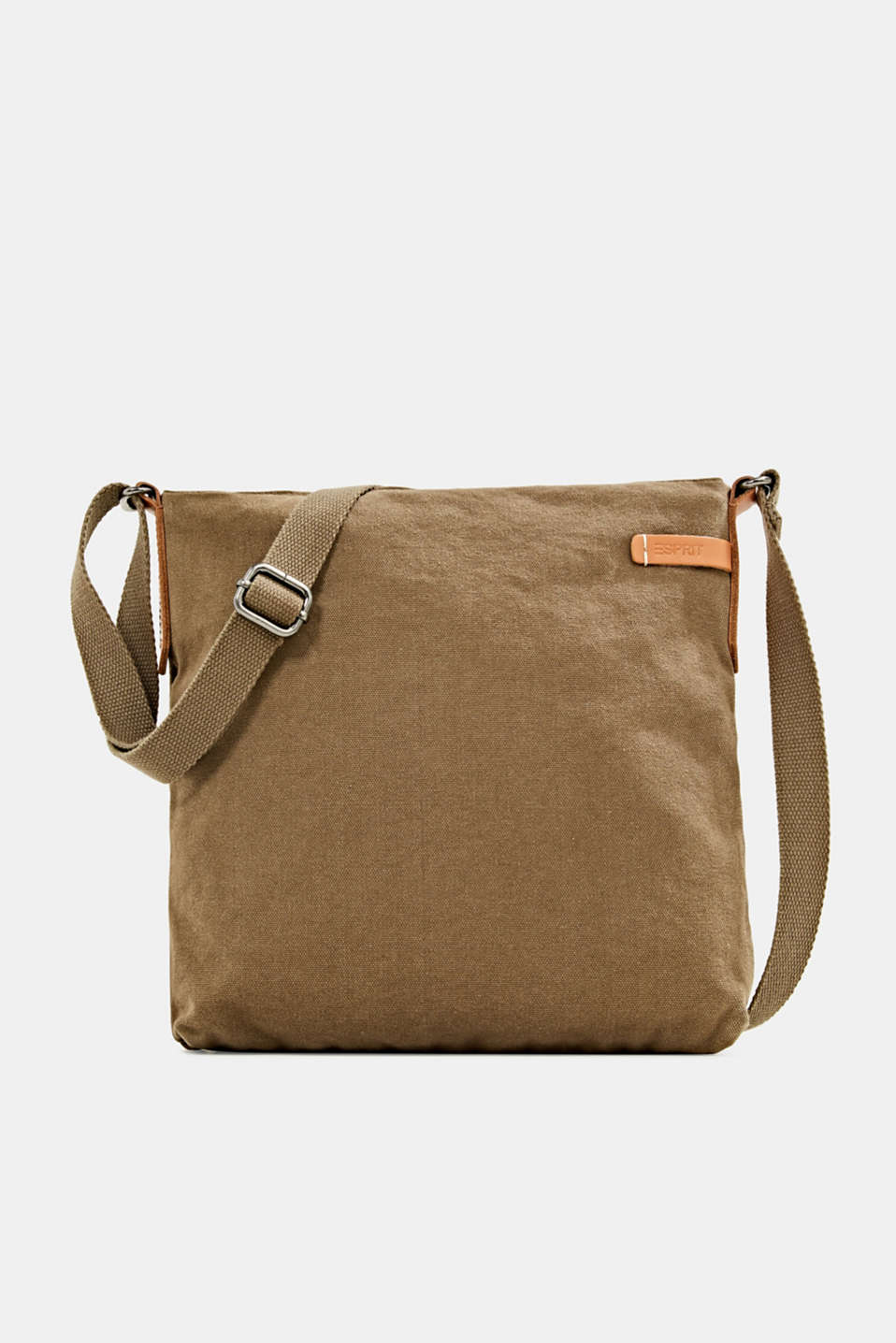 Canvas bag with leather details, LIGHT KHAKI, detail image number 0