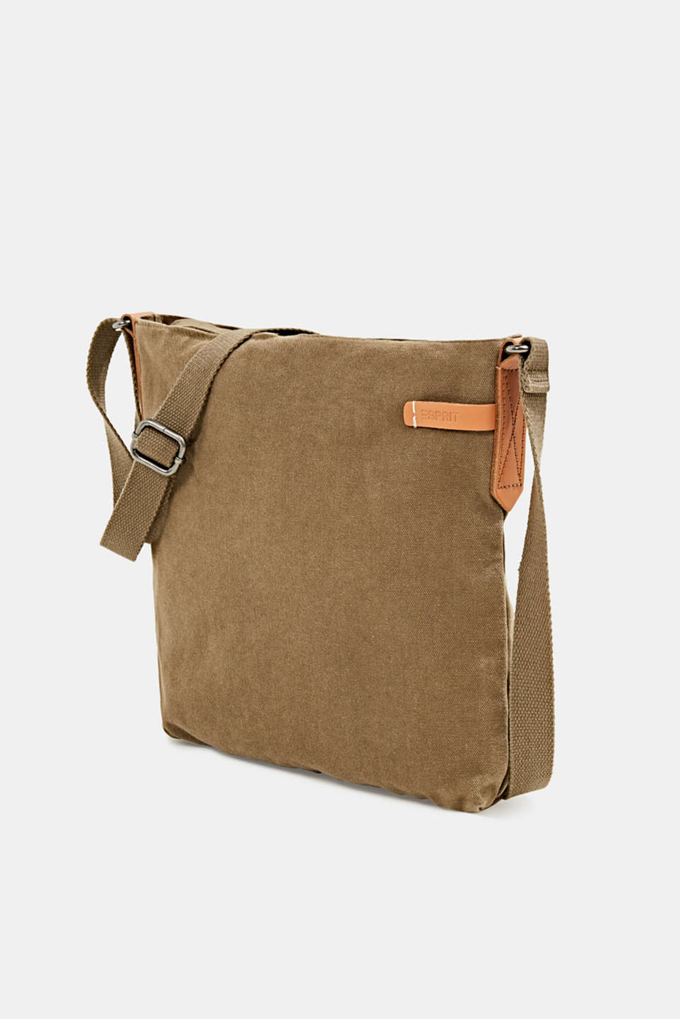 Canvas bag with leather details, LIGHT KHAKI, detail image number 2