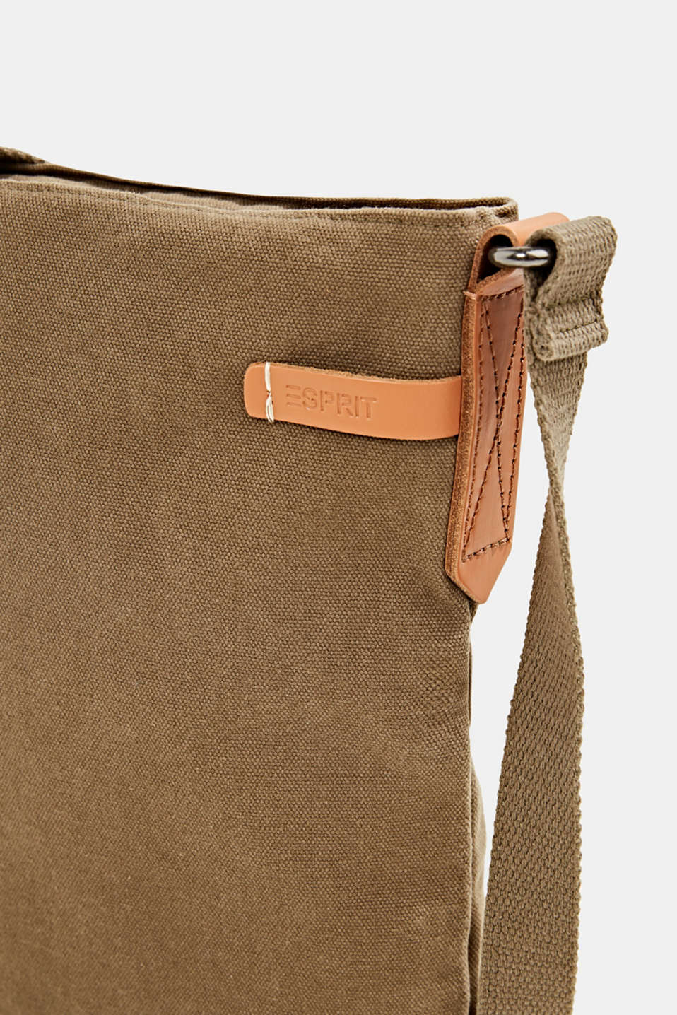 Canvas bag with leather details, LIGHT KHAKI, detail image number 3
