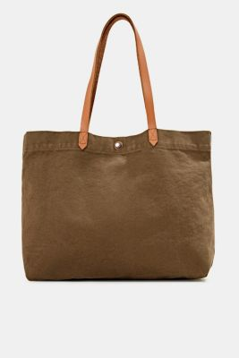 Canvas shopper with leather, LIGHT KHAKI, detail