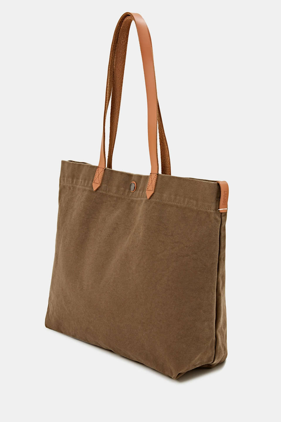 Canvas shopper with leather, LIGHT KHAKI, detail image number 2