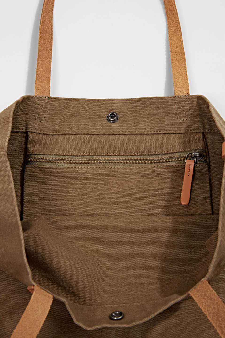 Canvas shopper with leather, LIGHT KHAKI, detail image number 4