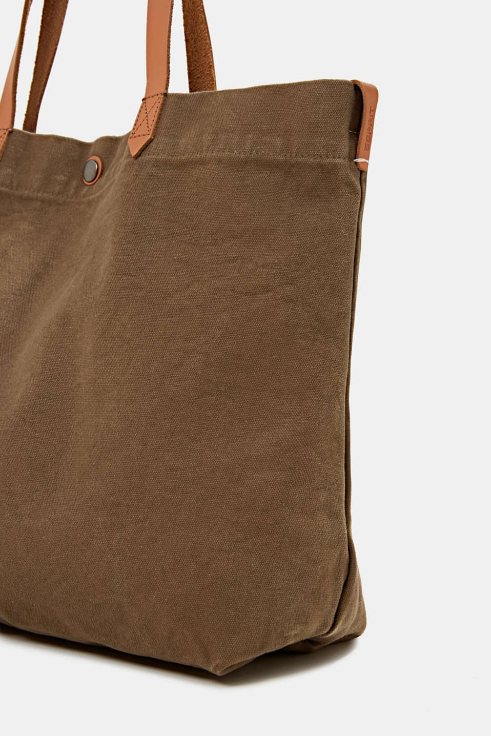 Canvas shopper with leather, LIGHT KHAKI, detail image number 3