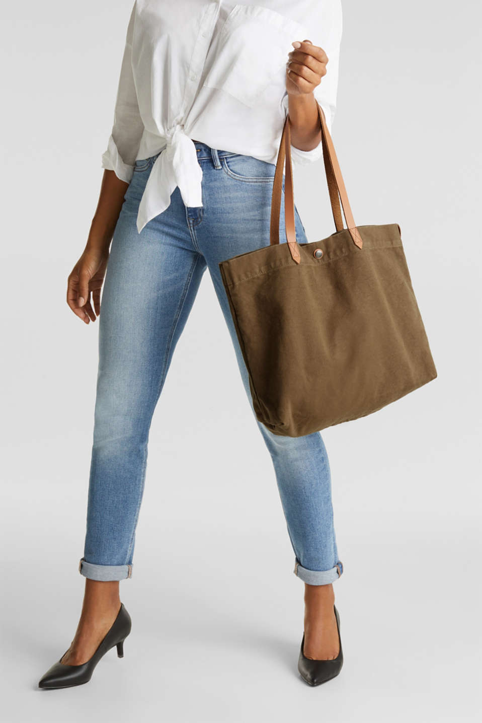 Canvas shopper with leather, LIGHT KHAKI, detail image number 1