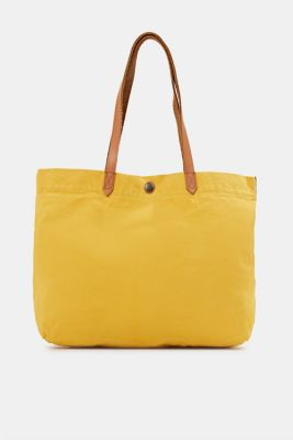 Canvas shopper with leather, YELLOW, detail