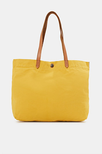 Canvas shopper with leather