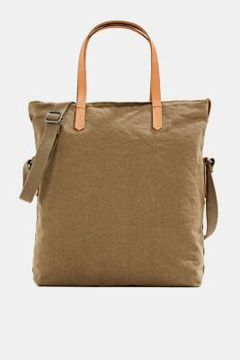 Adjustable canvas tote with leather details, LIGHT KHAKI, detail