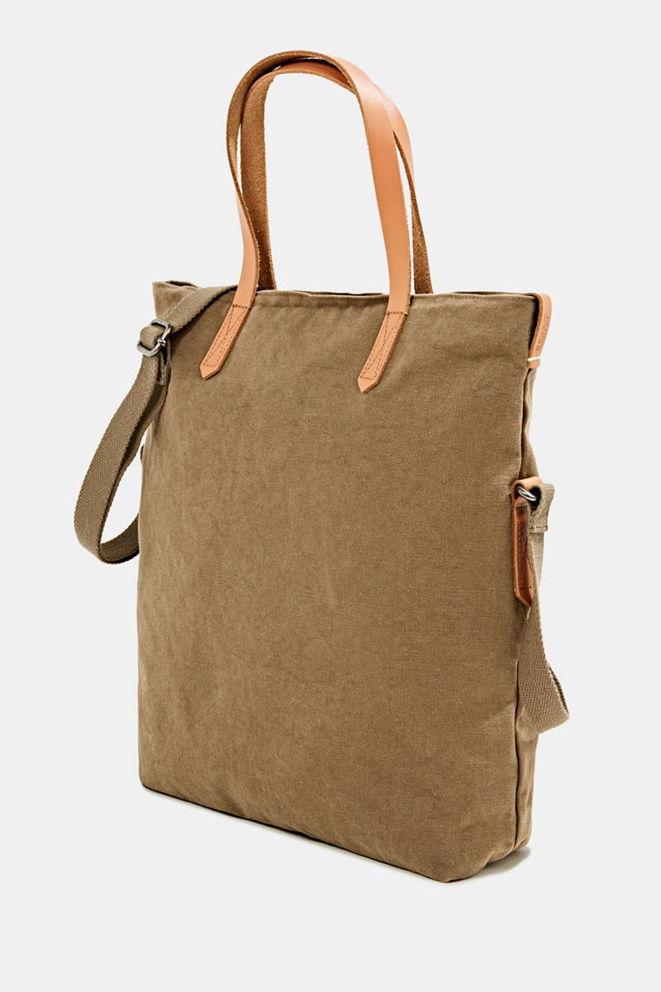Adjustable canvas tote with leather details, LIGHT KHAKI, detail image number 2