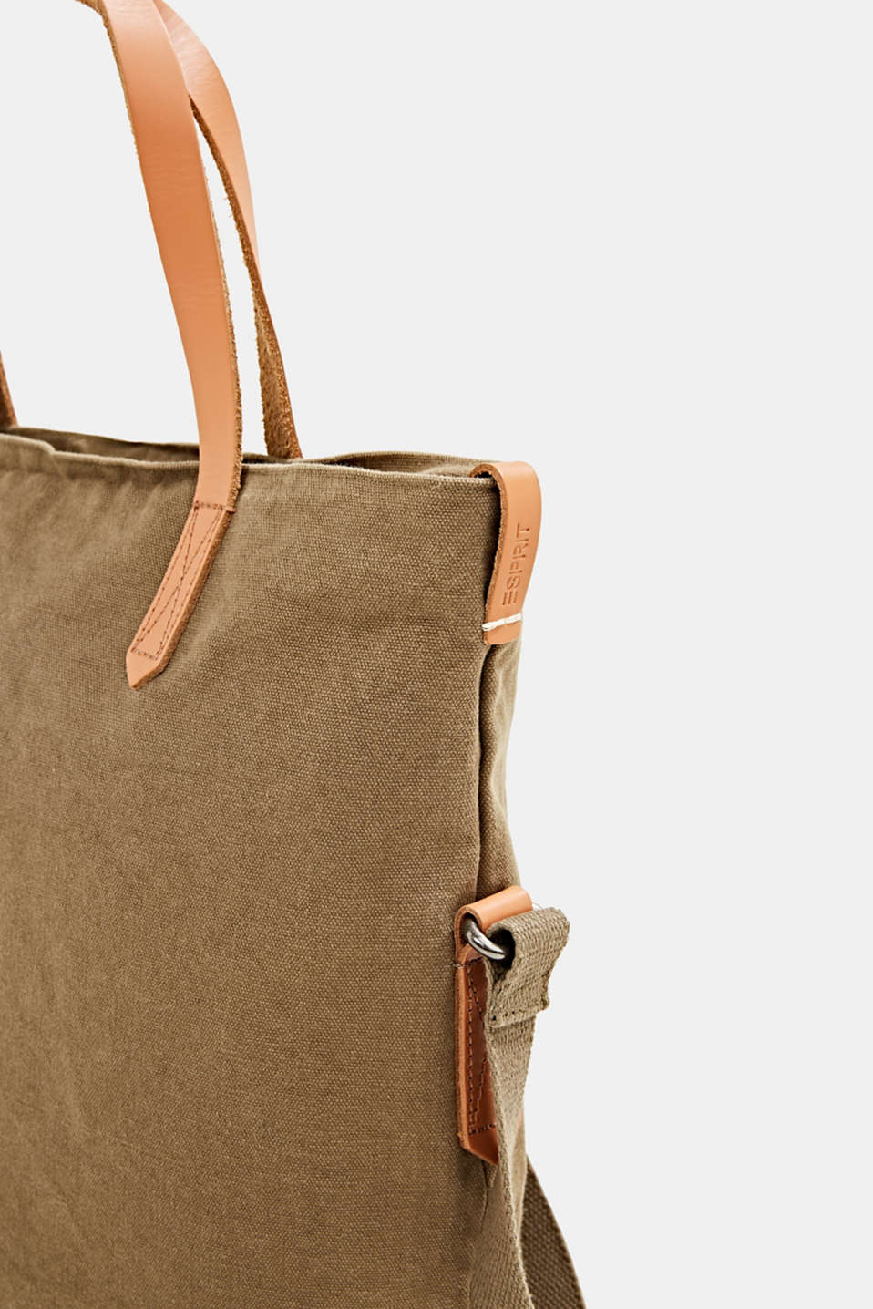 Adjustable canvas tote with leather details, LIGHT KHAKI, detail image number 3