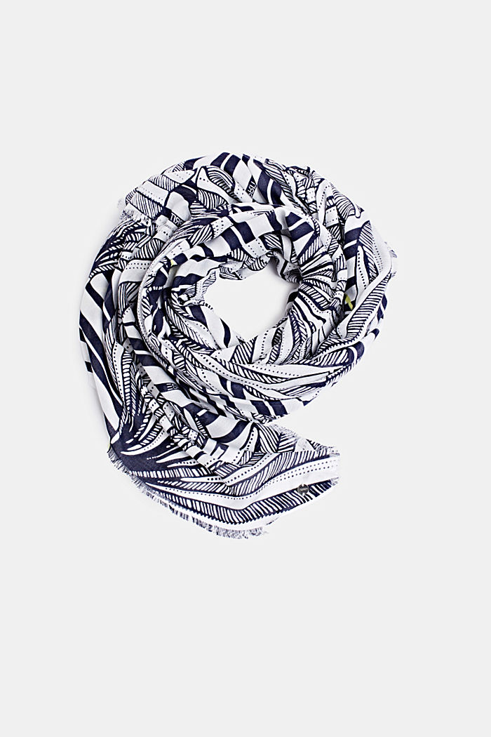 Made of LENZING™ ECOVERO™: Printed scarf, NAVY, detail image number 0