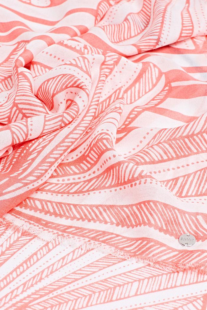 Van LENZING™ ECOVERO™: sjaal met print, CORAL, detail image number 2