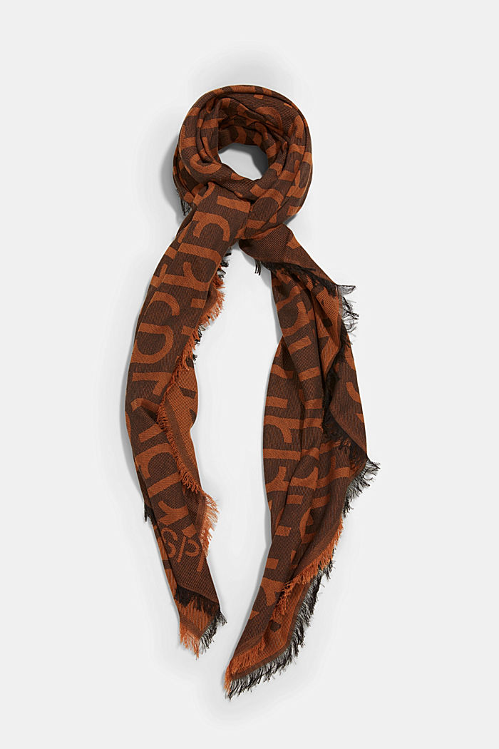 Monogram woven scarf in 100% cotton, BROWN COLORWAY, detail image number 0