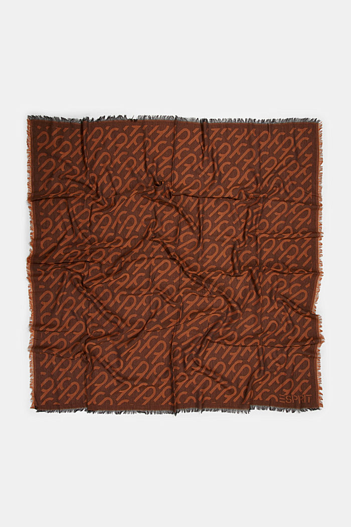 Monogram woven scarf in 100% cotton, BROWN COLORWAY, detail image number 3