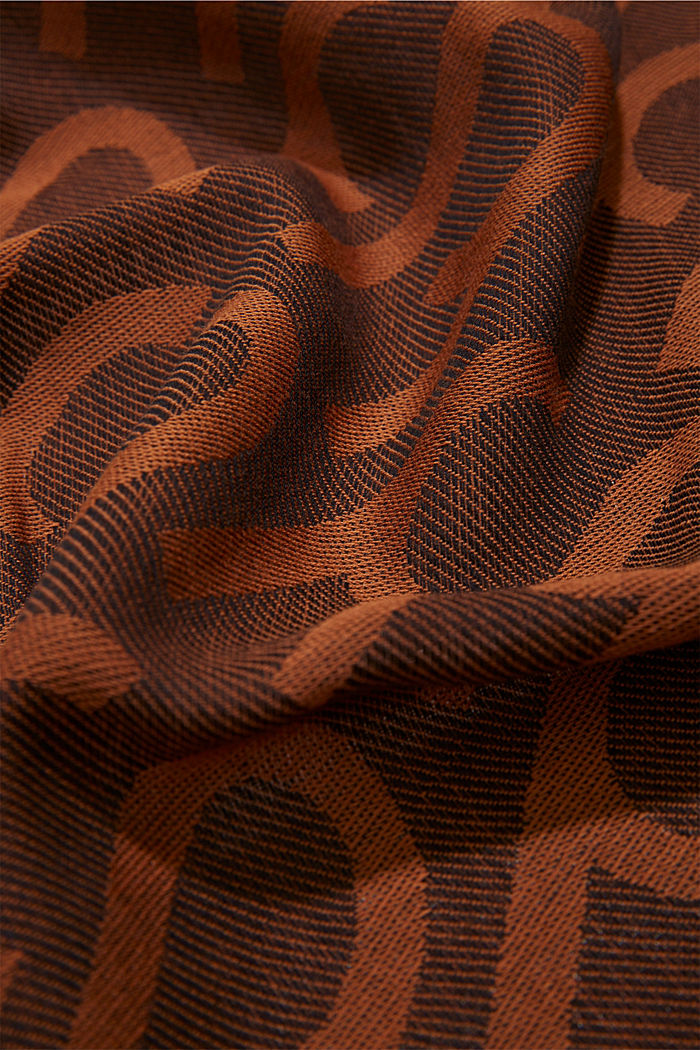 Monogram woven scarf in 100% cotton, BROWN COLORWAY, detail image number 2