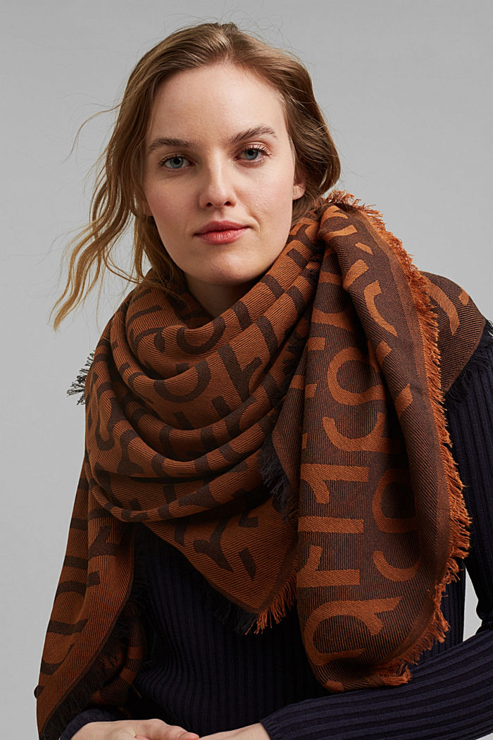 Monogram woven scarf in 100% cotton, BROWN COLORWAY, detail image number 1