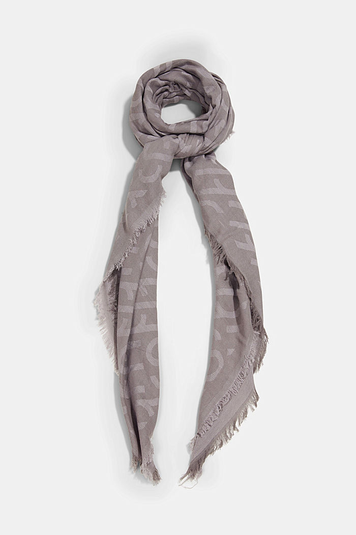 Monogram woven scarf in 100% cotton, GREY, detail image number 0