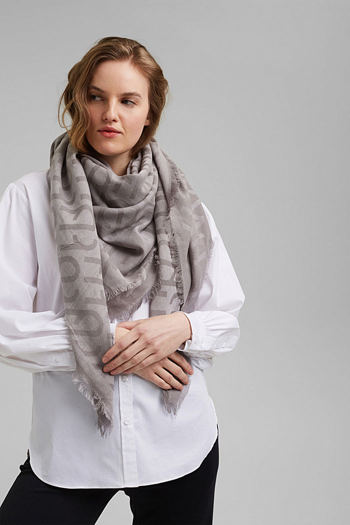 Monogram woven scarf in 100% cotton, GREY, detail image number 1