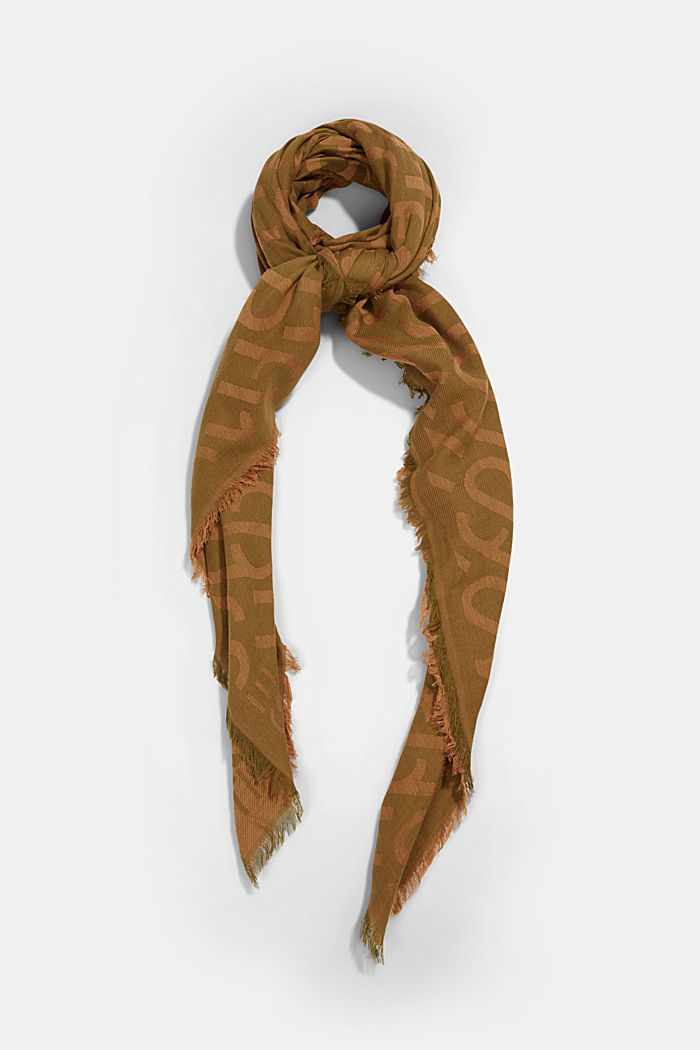 Monogram woven scarf in 100% cotton, OLIVE, detail image number 0