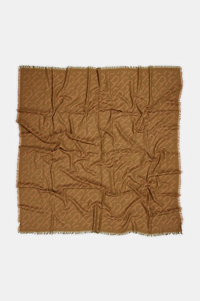 Monogramm-Webschal aus 100% Baumwolle, OLIVE, detail image number 3