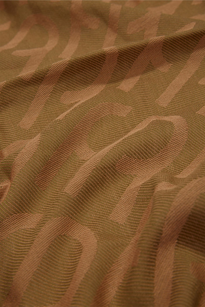 Monogram woven scarf in 100% cotton, OLIVE, detail image number 2
