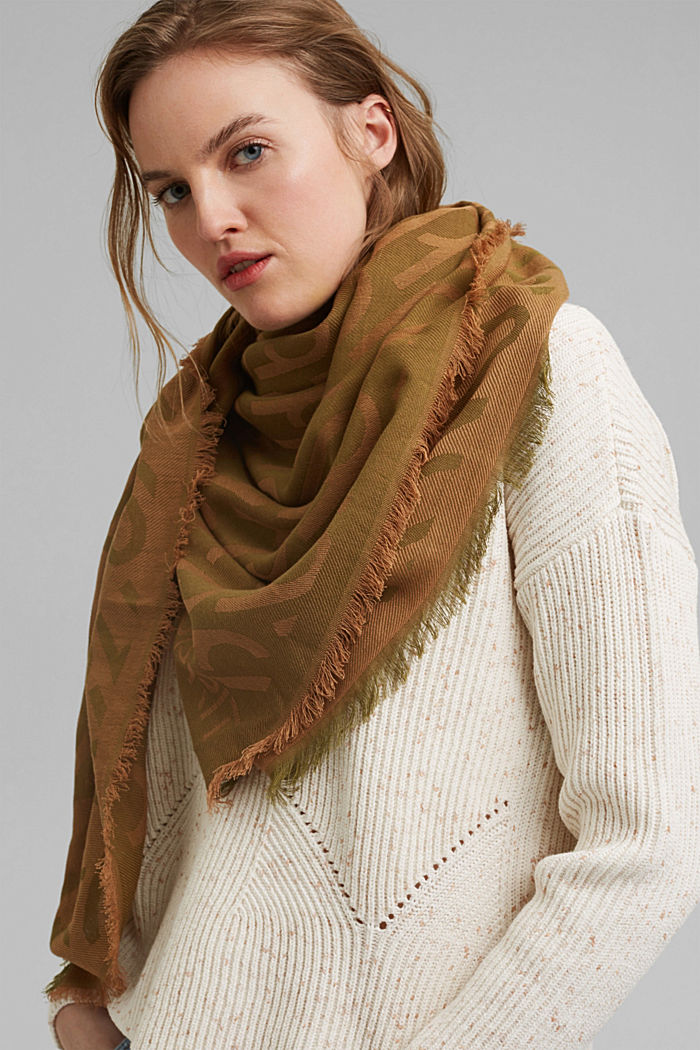 Monogram woven scarf in 100% cotton, OLIVE, detail image number 1