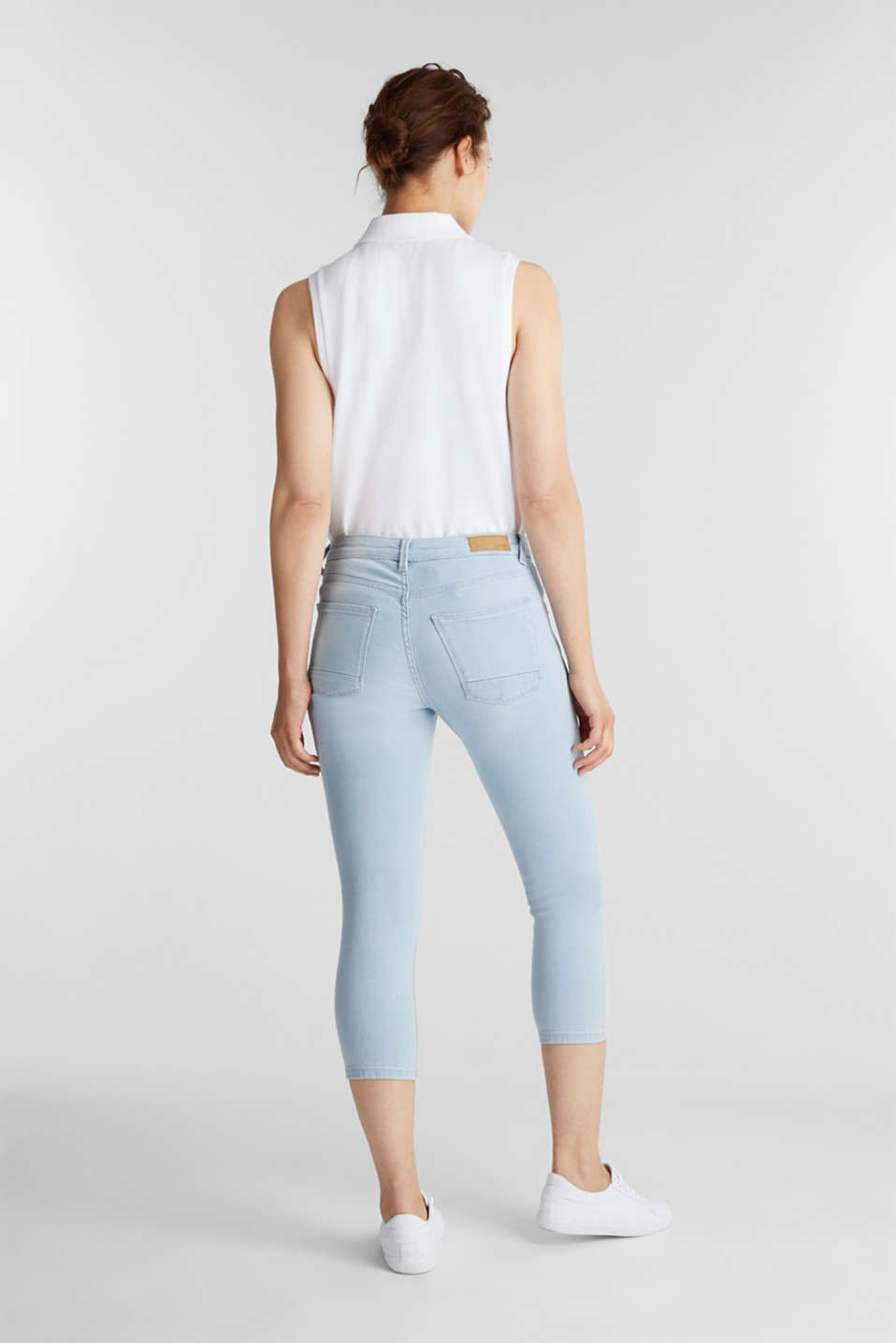 7/8-length jeans with organic cotton, BLUE BLEACHED, detail image number 3