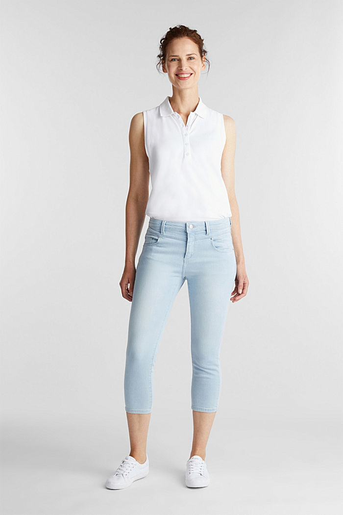 7/8-length jeans with organic cotton, BLUE BLEACHED, detail image number 1