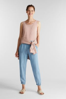 Tracksuit bottoms in a denim look, BLUE BLEACHED, detail
