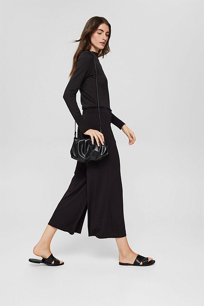 Culotte aus Crêpe-Jersey mit elastischem Bund, BLACK, detail image number 1