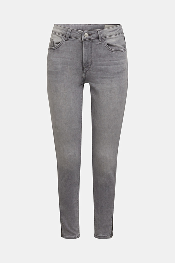Stretchjeans met biologisch katoen, GREY MEDIUM WASHED, overview