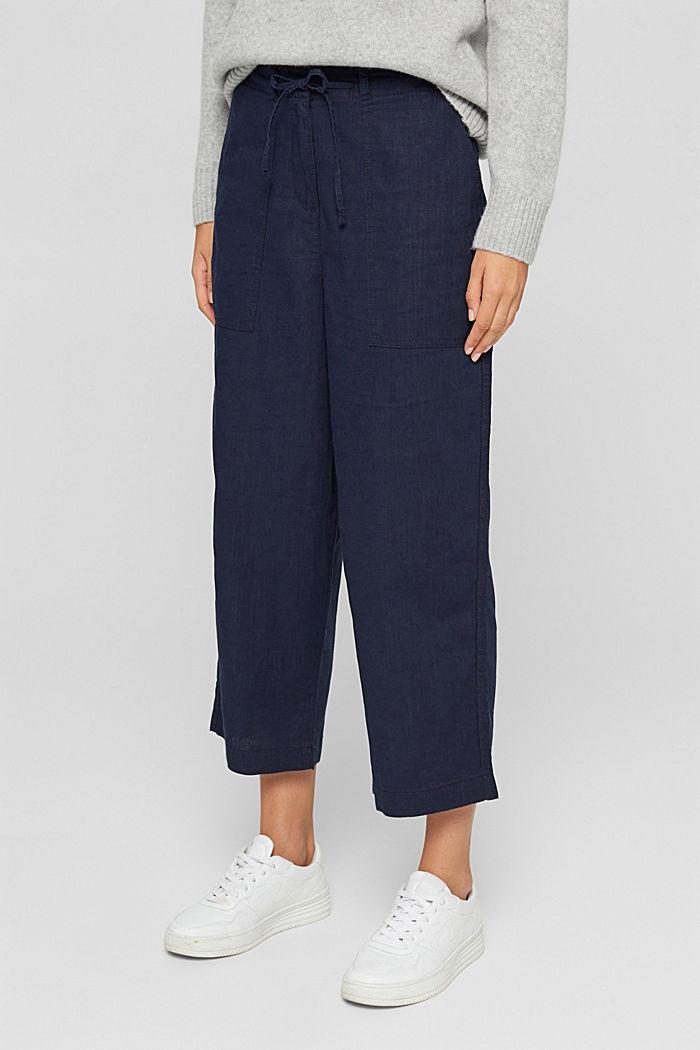 En coton bio et chanvre: la jupe-culotte à cordon de serrage, NAVY, detail image number 0